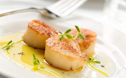 Grilled scallops in lemon garlic sauce
