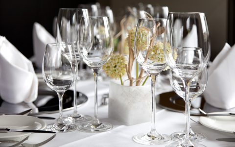 Group of wine glasses on table