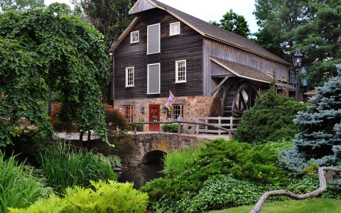 House with brick bridge & watermill