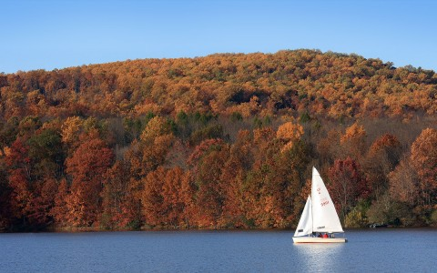 Boat sailing on lake with colorful trees