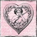 Drawing of cupid in heart