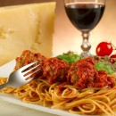 Pasta with glass of red wine