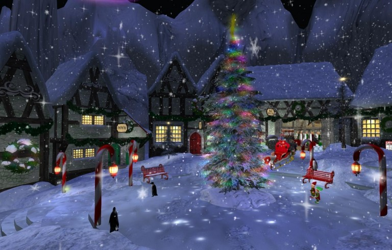 Illustration of village during winter with christmas tree