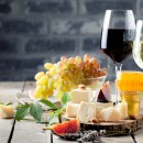 Red & white wine with cheese platter