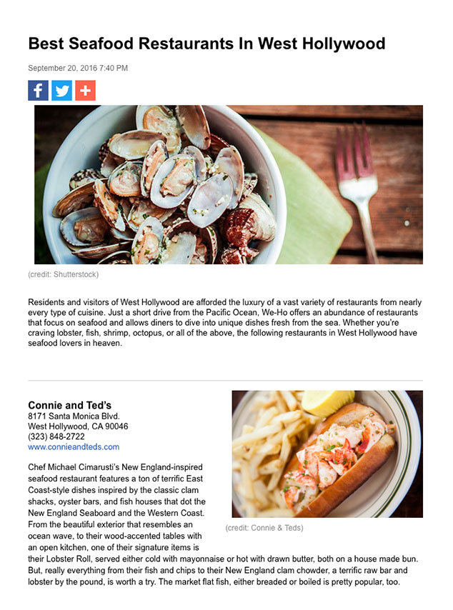 article featuring Oliver's prime as one of the best seafood retaurants in west hollywood