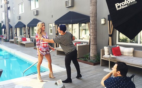 Kristin Cavellari doing a photoshoot in front of Grafton pool