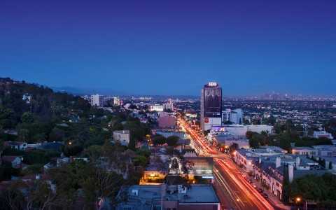 nighttime aerial shot of sunset strip