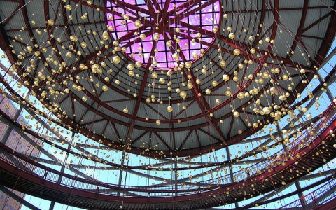 ceiling of the art museum with string lights