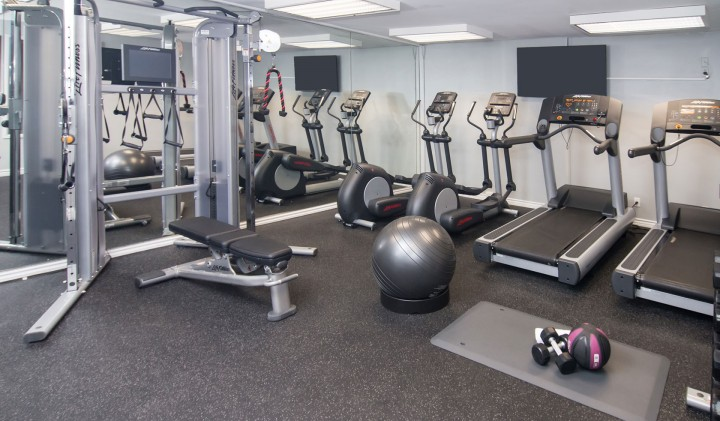 gym with excercise ball treadmills and ellipticals