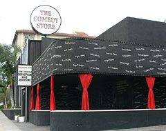 The Comedy Store black building with red curtains