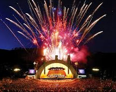 Hollywood Bowl during a concert with fireworks & large crowd