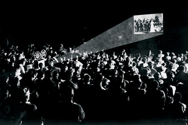crowd at a vintage cinema