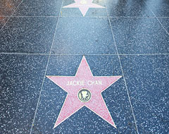 Close of of Jackie Chan's star on the walk of fame