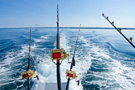 fishing rods on the back of a boat in the ocean