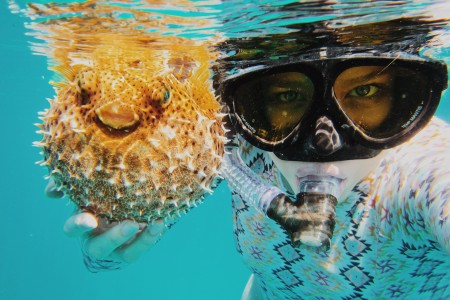 Woman snorkeling with blow fish