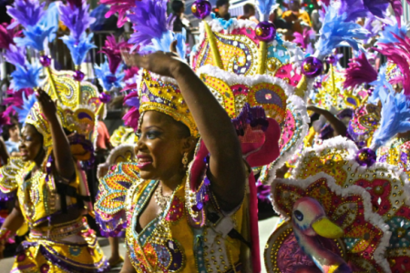 junkanoo performers in colorful costumes