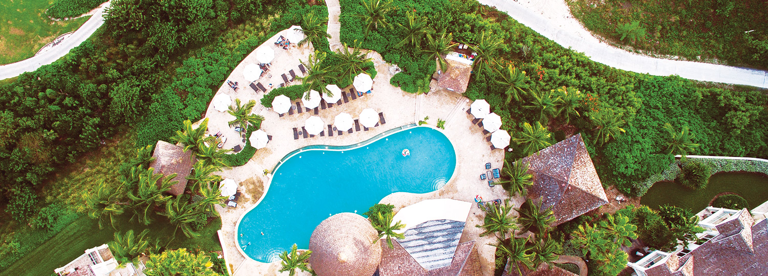 aerial view of pool on property