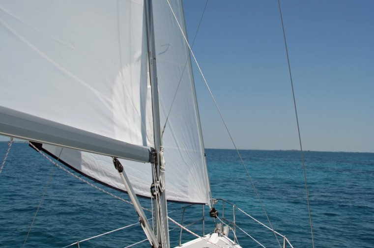 view of sail of a boat in the ocean