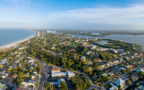 Aerial view of Ft. Myers island surrounded by water