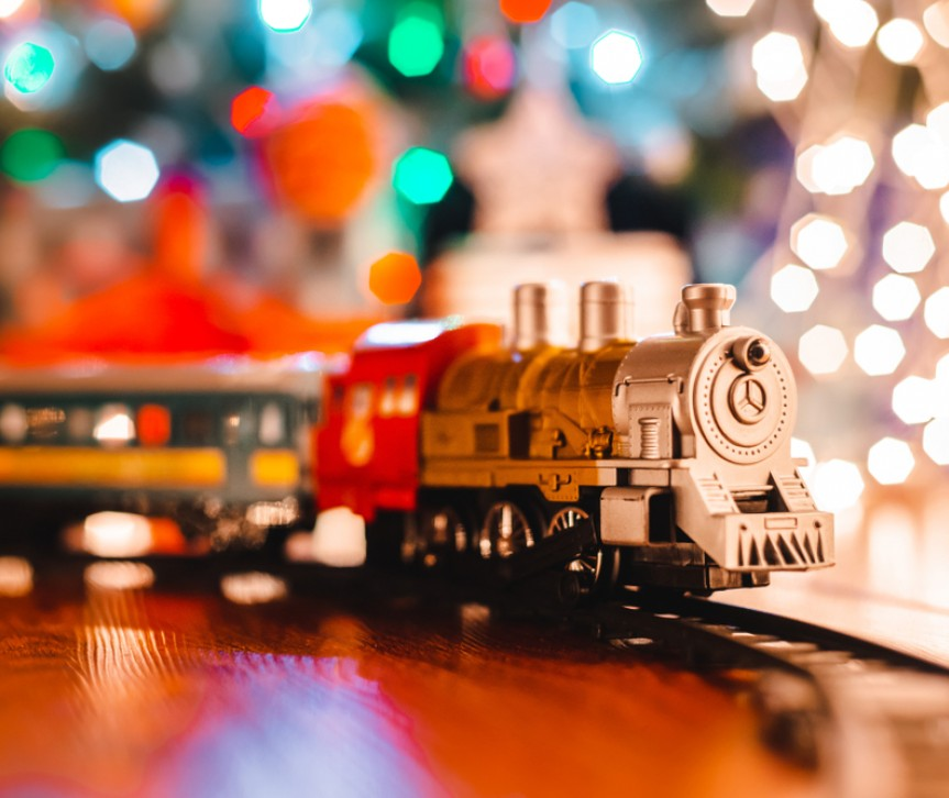 toy train at christmas