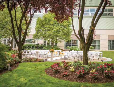 White chairs set in rows outside for wedding surrounded by trees