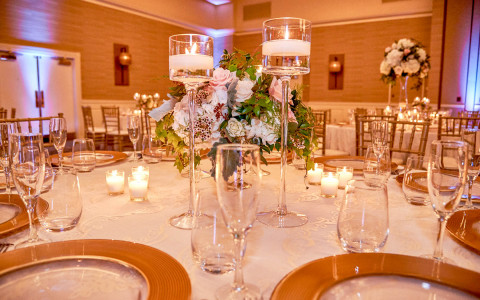 Wedding table with centerpiece and candles