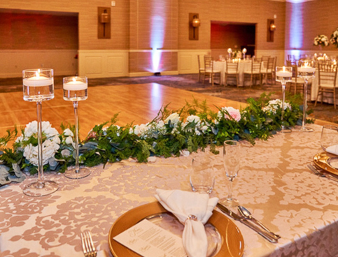 Wedding venue with decorated tables