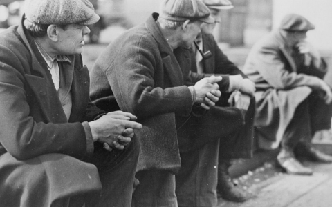 Depression Era Men Waiting for Work