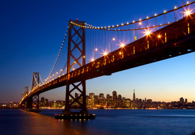 san francisco bridge lit up at night