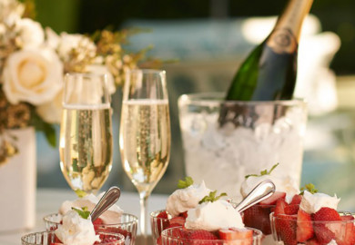 strawberry dessert with 2 glasses of champagne