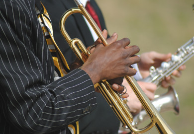 man playing Jazz on a trumpet