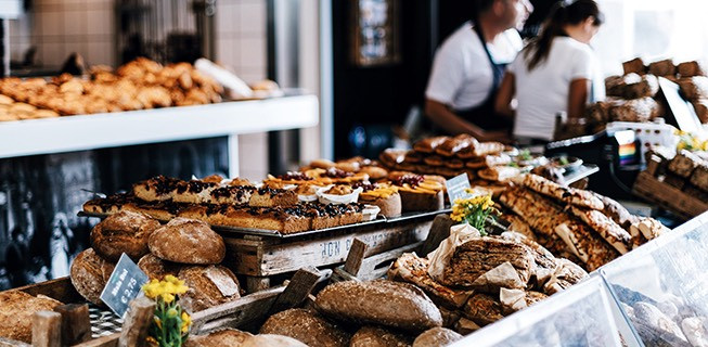 Patisserie filled with bread