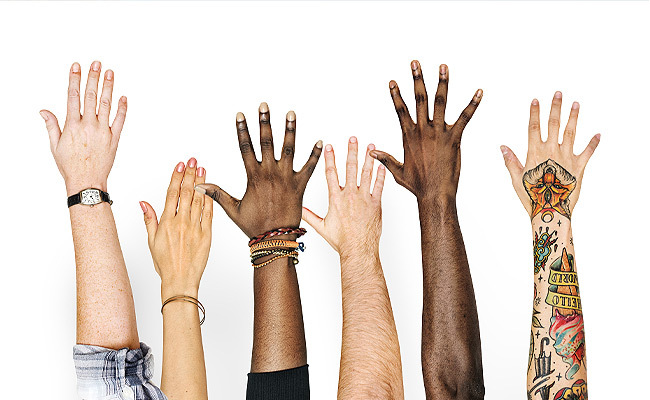 Diverse group of hands and arms