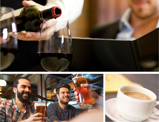 Image grid with red wine being poured into a glass, 2 men toasting with glasses of beer and a coffee in white coffee mug
