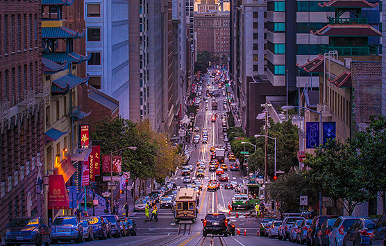 evening shot of a busy San Francisco street