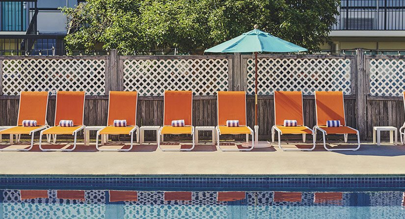 orange pool chairs
