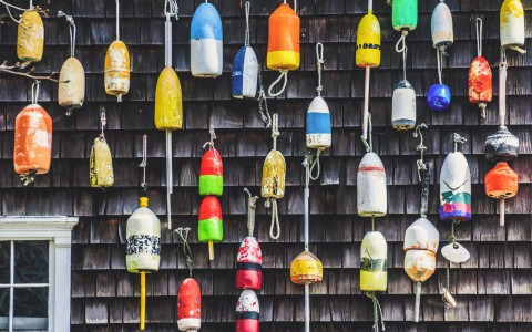 colorful hanging buoys