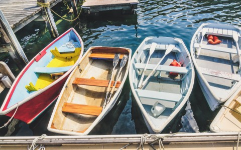 wooden boats at a dock