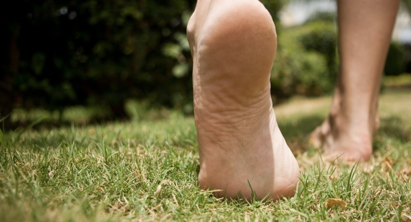 4. Barefoot in the grass