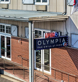 Exterior of Olympia Grill restaurant