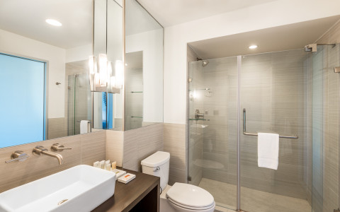 Bathroom area with a glass walk in shower, toilet, vanity area, large rectangular sink, and mirrors