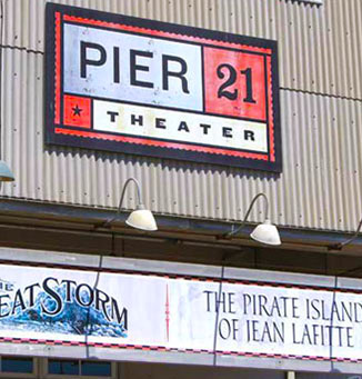 pier 21 theater sign in front of building