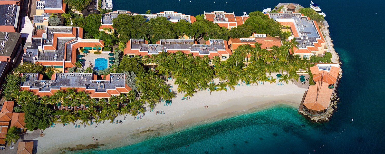 aerial view of resort property by the ocean
