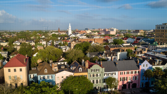 skyline aerial view of charleston
