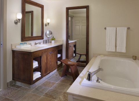 Harvest Inn Gallery 09 bathroom of a guestroom with a jacuzzi tub and double vanity