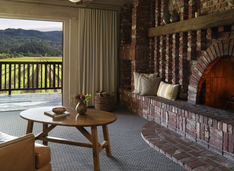 fireplace and view of the balcony overlooking the vineyard in one of the suites