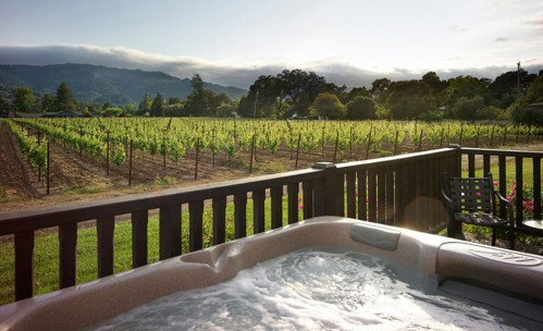hot tub in the vineyard view suite