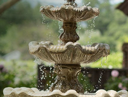 close up of the fountain on property