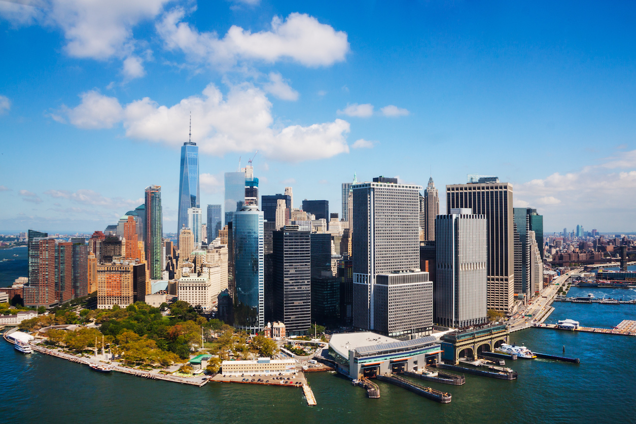 a photo of an aerial view of lower manhattan