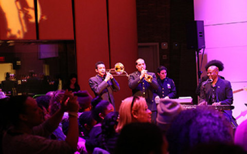 a band playing on stage at Carnegie hall